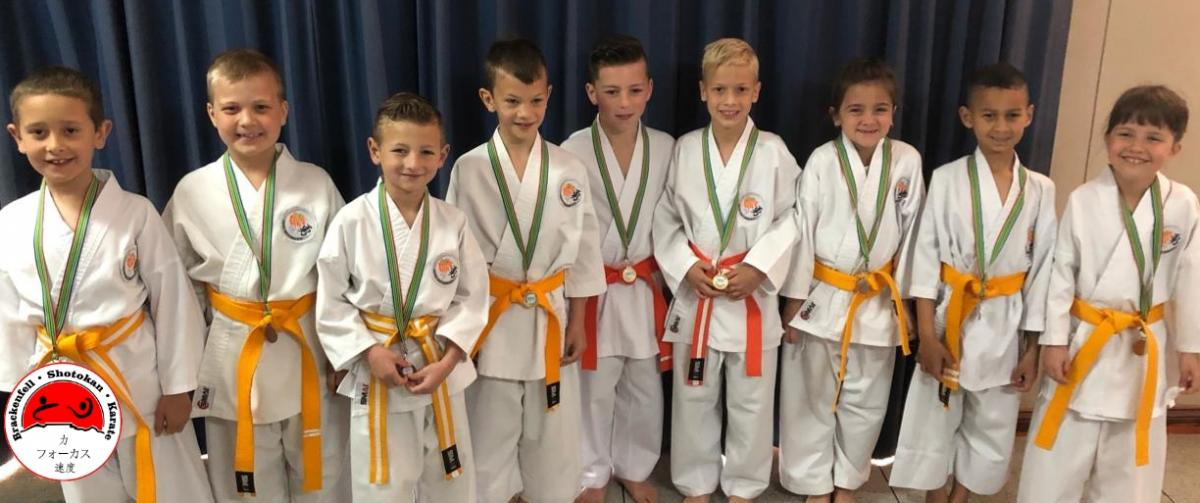 Dragons 2019 Team Unison Kata Team 7 Bronze Team 3 Silver and Team 1 Gold